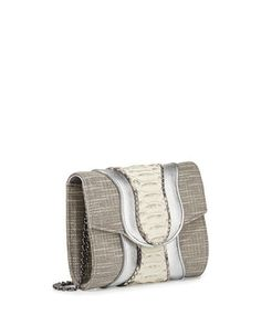 KHIRMA Jolie Tweed Mixed-Media Clutch Bag Silver/Natural $425  (Compare Elsewhere $525) SHIPS FREE BEST PRICES YOU WILL FIND ANYWHERE ON GENUINE LADIES DESIGNER BRANDS! FREE WORLD SHIPPING & LOCAL DELIVERY AVAILABLE AT THE SURF CITY SHOP in Huntington Beach, California Major Credit Cards Accepted