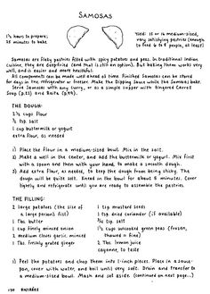 Mollie Katzen Online - Samosas. Click to follow link to full recipe.  I added 1 tsp. curry powder, added equal parts carrot and peas, and doubled the lemon and ginger.  Serve with mango chutney, mmmm.