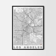 Los Angeles art prints - Art posters and prints of your favorite city. Unique design of a map. Perfect for your house and office or as a gift. Art Posters, Cool Posters, Black And White Posters, Black White, Cheap Home Decor Stores, Los Angeles Map, Kitchen Art Prints, Home Decor Pictures, Office Art
