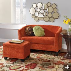 Love this orange loveseat! Furniture Layout, Living Room Furniture, Sleeper Chair, Inflatable Bed, Living Spaces, Living Area, Living Rooms, Home Decor Accessories, Apartment Living