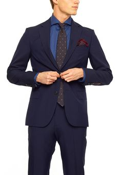 Oscar Jacobson Edmund kostym Blå Suit Jacket, Breast, Suits, Formal, Jackets, Style, Fashion, Preppy, Down Jackets