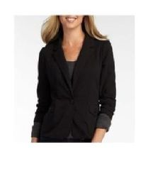 a.n.a Blazer Knit one button jacket black solid back lined women's size PS NEW 14.99 http://www.ebay.com/itm/-/231619957865?