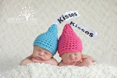 Newborn Baby Crochet Kisses Hats! But I would just do brown or maybe green and yellow!!