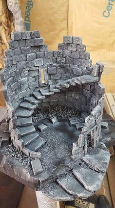 me ~ Fallen tower Terrain 40k, Warhammer Terrain, Game Terrain, Wargaming Terrain, Miniature Crafts, Miniature Houses, Halloween Village Display, Foam Carving, 3d Modelle