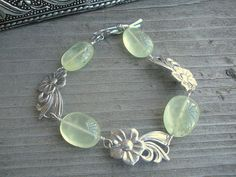 Prehnite Sterling Silver Bracelet Vintage by 2di4jewelryoriginals