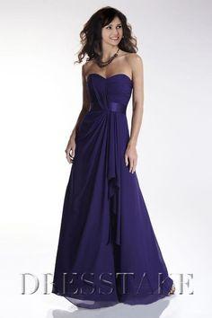 A-line Sweetheart Floor-length Chiffon Blue Bridesmaid Dresses 2012, US$86.99