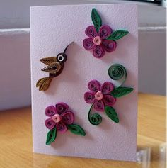 quilling - flowers and hummingbird