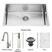 "View the Vigo VG15254 Vigo All-in-One 30"" Undermount Stainless Steel Kitchen Sink and Faucet Set at FaucetDirect.com."