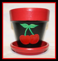 4 Cherry Terracotta pot by LeeLeePots on Etsy, $8.00