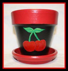 4 Cherry Terracotta pot by LeeLeePots on Etsy, $8.00