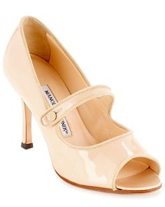 """Some of you have to get in on this: Manolo Blahnik """"Campiby"""" Patent Leather Mary Jane Peep-Toe Pump ... These are Carrie Bradshaw's Manolo Urban Shoe Myth! I would love these in black, too."""