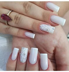 Ideas French Manicure Christmas For 2019 New French Manicure, Glitter French Manicure, French Manicure Designs, French Nails, Nail Designs, No Chip Manicure, Manicure Y Pedicure, Em Nails, Cute Nails