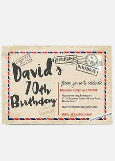 Looking for tasteful birthday invitations? Get recommendations from a professional party planner 70th Birthday Invitations, Rsvp, Airmail, Party, Etsy, Parties