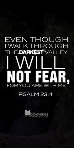 Even I walk through the darkest valley, I won't turn back for you, my God, are with me. Psalm 23:4