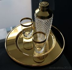 Vintage bar set: 1 crystal glass cocktail shaker, 2 glasses with gold trim, 1 gold plated serving tray (plate) 1960s Barware Mid century
