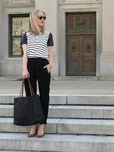 Hillsberg Company ridgeway black leather tote, stripe tee, J. Crew Reese pants, leopard haircalf pumps, stacked bracelets