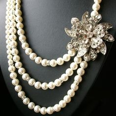 Pearl Bridal Necklace, Victorian Rhinestone Wedding Jewelry, MIRABELLE Collection $148