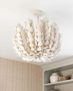 Hand-cut coco shells create the unique and beautiful shape of the Coco Magnolia Hanging Pendant. While providing ambient lighting, this piece also adds dimension and texture. Bathroom Chandelier, Shell Chandelier, Chandelier Lighting, Chandelier For Girls Room, Bedroom Light Fixtures, Hanging Light Fixtures, Hanging Pendants, Ceiling Fixtures, Room Lights