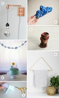 copper pipe wall sconce from Claire for Camille Styles, mini cushions DIY from Hej Juni, simple wooden rings DIY from The Merry Thought, cupcake liner birthday garland from You Are My Fave, DIY gem pinatas from Lovely Indeed, tea towel geometric hanger from Bambula (via Design Crush)