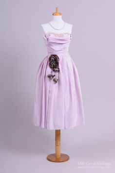 1950 Lavender Taffeta Vintage Party Dress : Mill Crest Vintage