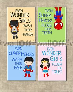 Super Heroes  & Wonder Girls Bathroom Prints - You Choose Qunatity and Super Heroes and Wonder Girls on Etsy, $15.00