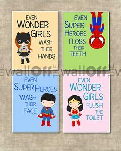 Super Heroes  & Wonder Girls Bathroom Prints - You Choose Qunatity and Super Heroes and Wonder Girls on Etsy, $15.00