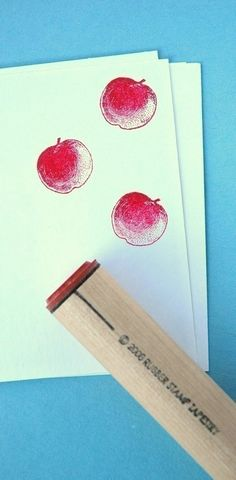 Apple Rubber Stamp by norajane on Etsy
