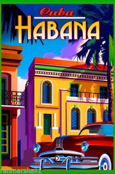 Cuba-Cuban-Havana-Habana-Island-Caribbean-Travel-Art-Advertisement-Poster