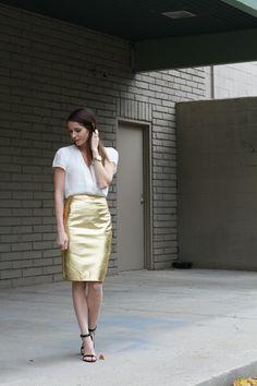 DIY: metallic pencil skirt