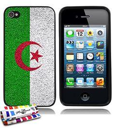 MUZZANO Coque souple Ultra-Slim Noire au motif exclusif Drapeau algerie pour APPLE IPHONE 4S