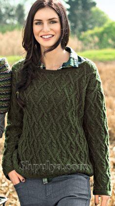 Женский пуловер с ромбами спицами