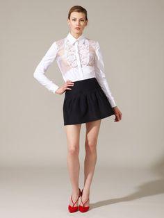 Valentino silk pleated skirt and ruffle blouse