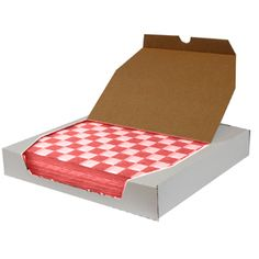 12 inch x 12 inch Red Check Deli Sandwich Wrap Paper 1000 / Box. We think these wax paper deli wraps teamed with a red plastic basket, like you wee in fast food restaurants, are a great alternative to paper plates and really, washing dishes as well. Just a small amount of thin paper is composted and we save the water, time and effort of washes everyday dishes. Win-Win!