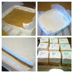 Juustokakun tekemiseen ei välttämättä tarvita kakkuvuokaa. Tässä tehty leipomon käyttämään suorakaiteen malliseen leivoslaatikkoon