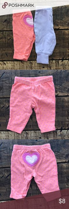 Faded Glory Baby Girl Pants Purple Pink and Orange Faded Glory Baby Girl Pants Purple Pink and Orange. Size 0-3 Months. Both 100% Cotton Faded Glory Bottoms Leggings