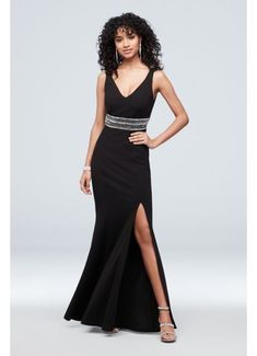 This alluring crepe tank dress is detailed with a V-neck and back, a beaded waist, and a front slit for ease of movement. By Speechless Polyester, spandex Back zipper; Mermaid Bridesmaid Dresses, Homecoming Dresses, Davids Bridal, V Neck Dress, Tank Dress, Handkerchief Hem Dress, Trumpet Dress, Plus Size Gowns, Prom Dress Shopping