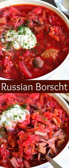 This classic Russian Borscht recipe is healthy, nutritious, and comforting soup for colder season. Traditional Russian beet soup made with cabbage, beef, and many other vegetables. Beet Borscht, Beet Soup, Soup And Salad, Russian Soup Recipe, Russian Recipes, Hungarian Recipes, Recipes, Clean Dinners, Russian Cuisine