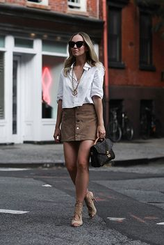 spring outfit, fall outfit, summer outfit, fall trends 2016, casual outfit, night out outfit, party outfit, street style, street chic style - white short sleeve shirt, brown suede mini skirt, beige suede heeled sandals, brown logo shoulder bag, brown cat eye sunglasses, golden statement necklace
