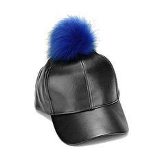 Women Vegan Leather Fur Pom Pom Baseball Cap - Blue  Style No: S 103867 Theme: Pom Pom Size : 11 R ,7 ID, Adjustable 7.5 H Color Pom Pom - Blue