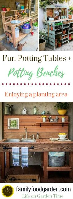 Inspiring potting bench ideas and potting bench plans so you can build your own potting table. DIY pallet potting bench & more! Pallet Potting Bench, Potting Tables, Outdoor Garden Bench, Garden Table, Garden Benches, Rustic Outdoor, Outdoor Gardens, Patio, Potager Garden