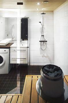 Kylpyhuone Valkoinen Lattia : Saunan ja pesuhuoneen täysremontti rivitaloasunto sai uuden