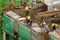 Photo about Workers at a construction site for high-rise residential apartment block. Image of construction, debris, reinforcing - 1865491 Construction Worker, Flyer Design, Design Ideas, Layout, Brochure Design, Page Layout, Leaflet Design