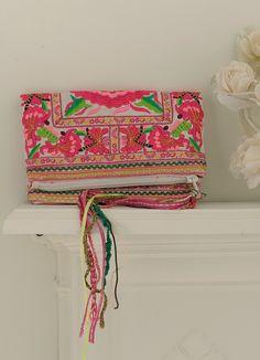 Effie fuchsia foldover embroidered bag at Anusha