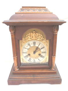 HAC German Oak Case Chiming Mantle Clock With Glazed Front 16 H 12 W 7.5 D