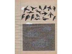Jochen Gerner, Ornithologie 14, encre de Chine sur support imrpimé, 17,7x13,8cm ©courtesy galerie anne barrault