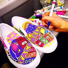 Painted Vans, Custom Painted Shoes, Painted Sneakers, Hand Painted Shoes, Painted Clothes, On Shoes, Me Too Shoes, Shoe Boots, Custom Vans Shoes
