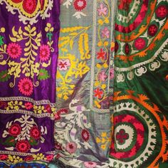 An embroidered Kazakh coat from 19th-century Uzbekistan is one of the items on display at the exhibition at the Textile Muse