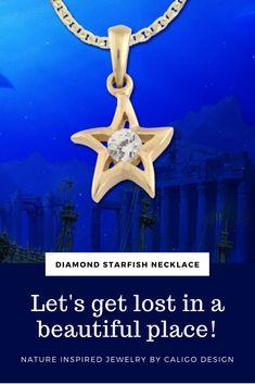 Starfish Diamond Solitaire Pendant Necklace - White or yellow gold with diamonds - Starfish Jewelry by Caligo Design - Nature Inspired Jewelry - 14k Gold Jewelry, Star Jewelry, Diamond Jewelry, Ocean Jewelry, Beach Jewelry, Starfish Necklace, Nature Inspired, Pendant Necklace, Diamonds