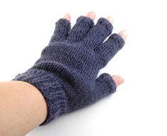 Half finger gloves Cashmere fingerless gloves Blue winter