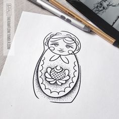 Minimalist Russian doll with dotwork - custom design for Anthony